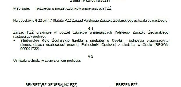 Polski Związek Żeglarski docenił działalność SZEKLI